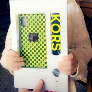 Michael Kors neon leather checkerboard iPhone case